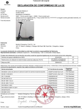certificado patinete electrico